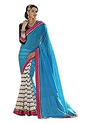 Monash Creations Pyramid Printed Blue Color Bhagalpuri Silk Saree