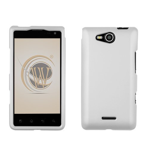 White Rubberized Hard Case Protector Phone Cover For Lg Lucid (Vs-840) Verizon Wireless