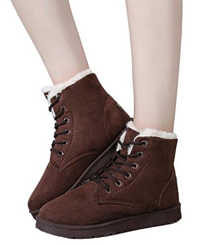 Minetom Donna Autunno Inverno Lace Up Pelliccia Classico Neve Stivali Snow Boots Stivali Cavaliere Scarpe Piatte Marrone EU 38