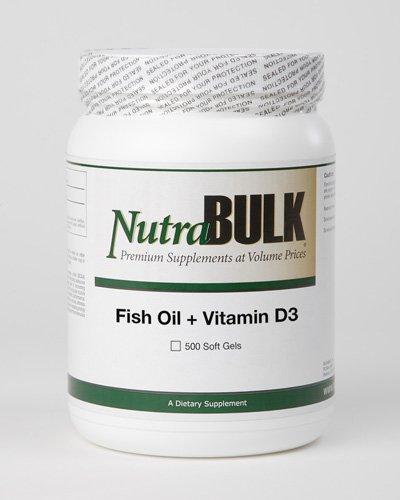 Nutrabulk Omega-3 Fish Oil + Vitamin D3 1000Mg Soft Gels - 500 Count