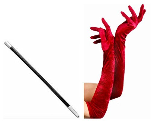 Long Red Gloves and Cigarette Holder Flapper Cruella DeVille 1920s Fancy Dress by Card and Party Store (Cruella Deville Cigarette Holder compare prices)
