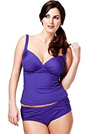 Plus Ruched Bandeau Tankini Top