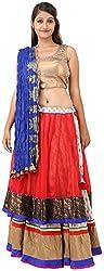 Arya The Design Gallery Women's Georgette Regular Fit Lehenga Cholis( SK10100, Multi-Coloured, Large)