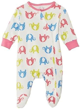 Kite Kids Baby Girls Bg144 Pink Elephant Polka Dot Long Sleeve Sleepsuit, Off White (Ecru/Multi), 3-6 Months