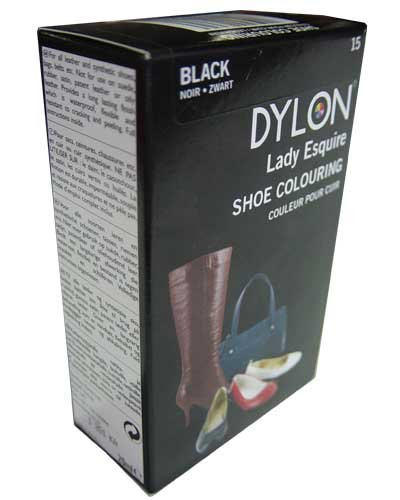 1 x Dylon 20ml Sachet Lady Esquire Leather & Synthetic Black Shoe Boot Colouring
