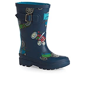 Joules Boys Wellington Boots - Navy Tractor
