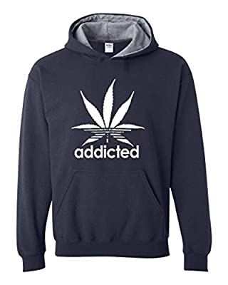 Xekia Addicted White Weed Leaf Marijuana Cannabis Unisex Contrast Color Hoodie
