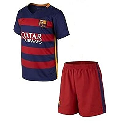 Barcelona Home Messi #10 / Neymar #11 Football Soccer Kids Jersey with Free Shorts & Socks set (Youth M (for age 8-10), #10 Messi)
