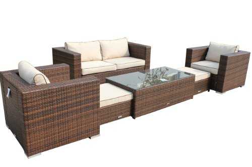 Rattan Garden Furniture, 6 Piece Ascot Sofa Set inc FREE Luxury Outdoor Covers!