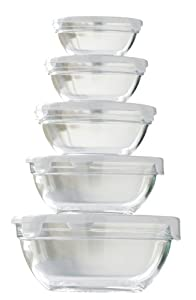 Premier Housewares Glass Bowls with White Lids - Set of 5