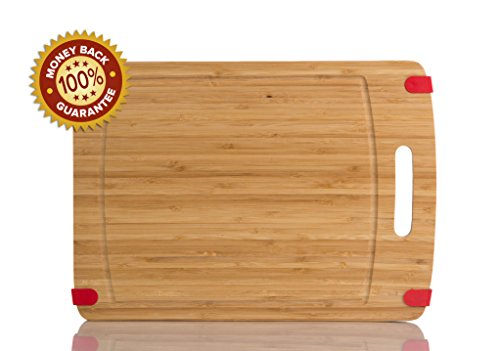 Heavy-Duty Thick 16 X 12 Non Slip Bamboo wood Cutting Board-Eco-Friendly Chopping Board Featuring Juice Groove, Convenient Handle, and red Non-Slip Silicone Corner Tabs