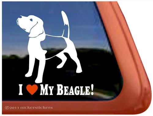I Love My Beagle Dog Vinyl Window Auto Decal Sticker