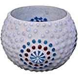 Tied Ribbons Blue Fushion Mosaic Glass Tea Light Holder (3.5x2.5) Inch