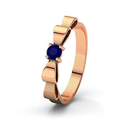 21DIAMONDS Women's Ring Fabayo Brilliant Cut Blue Sapphire Color Engagement Ring 14ct Rose Gold Engagement Ring