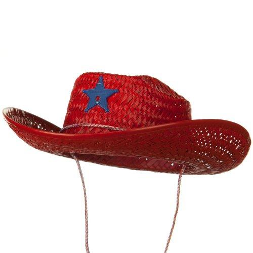 Solid Child Straw Cowboy Hat - Red Osfm
