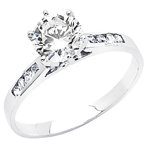 14K White Gold High Polish Finish Round-cut 1.50