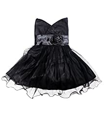 Mint Girls' Cotton Frock (111148343_Black_4-5 Years)