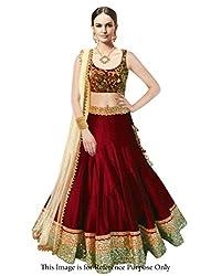 Maxthon FashionWomen's Maroon Benglory Silk Embroidered Designer Unstitched Free Size XXL Lehenga Choli (Women's Indian Clothing Lehnga Choli 4060)