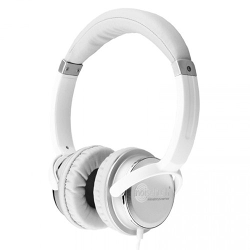 Noisehush Nx26-11853 3.5Mm Stereo Headphones With Neodymium Magnet Drivers Medium For All Apple Ipad/Iphone/Mp3 Players And Most Cell Phone Models White/Silver