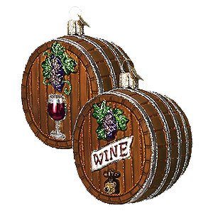 Old World Christmas Wine Barrel Glass Ornament #32067