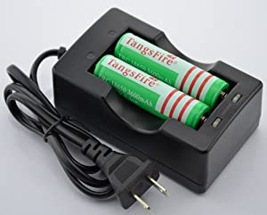 Tangsfire 18650 3600mah 3.7v Rechargeable Li-ion Battery (Pair) + Charger Combo