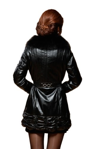 Queenshiny Long Women's 100% Real Mink Fur and Sheepskin Coat Jacket with Fox Collar-Black-M(8-10)