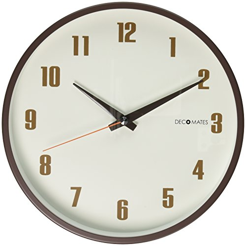 DecoMates Non-Ticking Silent Wall Clock, Retro, Brown 0