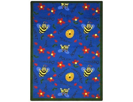 "Joy Carpets Kid Essentials Early Childhood Bee Attitudes Rug, Blue, 3'10"" x 5'4"""
