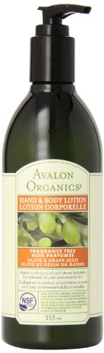 Avalon Organics Olive And Grape Seed Hand And Body Lotion, Fragrance Free, 12 Ounce