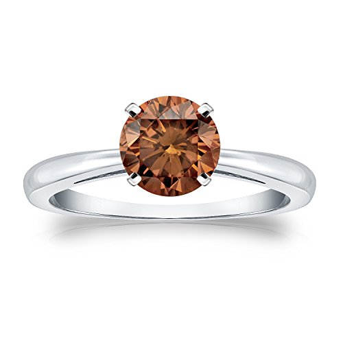 18K White Gold Round-Cut Brown Diamond Solitaire Ring 4-Prong (1/2 Cttw, Brown Color, Si1-Si2 Clarity), Size 5.5
