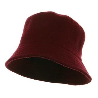 Wool Bucket Hat with Stitches-Burgundy