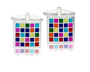 Enamel Multicoloured Checkerboard Cufflinks, Model 9843