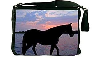 Rikki KnightTM Horse Silhouette on Sunset Lake Design Messenger Bag - Shoulder Bag - School Bag for School or Work With Matching Neoprene Pencil Case