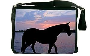 Rikki KnightTM Horse Silhouette on Sunset Lake Design Messenger Bag - Shoulder Bag - School Bag for School or Work With Matching Neoprene Pencil Case