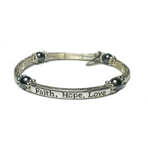 Inspirational Faith, Hope, Love Magnetic Hematite Healing Stretch Bracelet