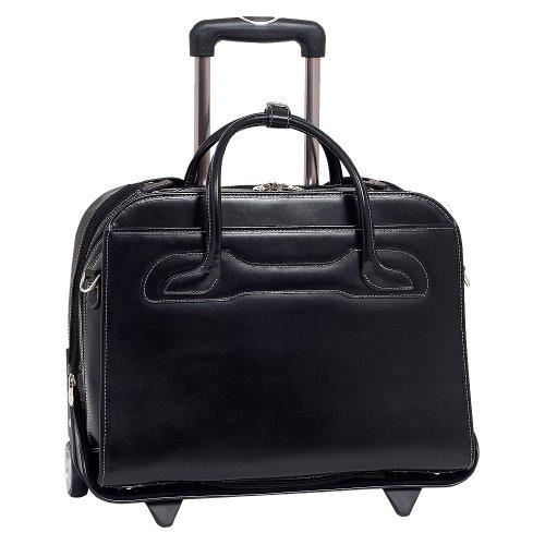 McKleinUSA Willowbrook 94985 W Series Italian Leather Detachable -Wheeled Ladies Briefcase (Black)