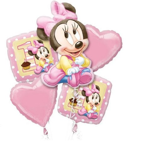 Disney 1St Brithday Baby Minnie Mouse Balloon Birthday Party Favor Supplies 5Ct Foil Balloon Bouquet front-908097