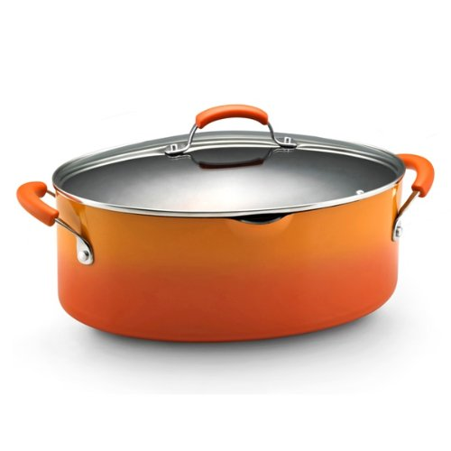 Rachael Ray Porcelain Enamel II Nonstick 8-Quart Covered Oval Pasta Pot with Pour Spout, Orange Gradient