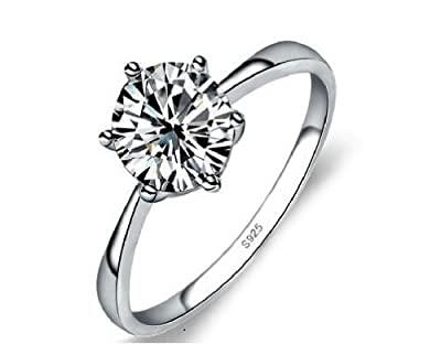 Accessories of Envy 1.25ct Simulated Diamond, 925 Sterling Silver, Solitaire Engagement Wedding Ring