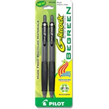 Pilot BeGreen G-Knock Retractable Gel Ink Pens, Fine Point, 2-Pack, Black Ink (31500)