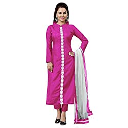 ZHot Fashion Women's Plain and Solid Un-stitched Dress Material In Banglori Silk Fabric (ZHKTN1002) Pink