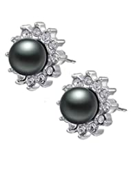Kaizer Sparkling Pearl Diamante 18K White Gold Plated Earring For Women