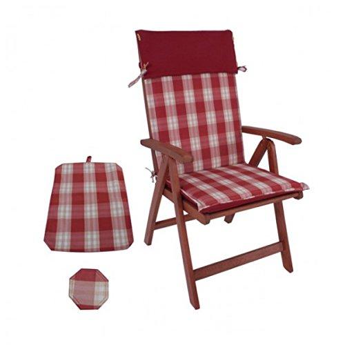 Gartenstuhl Hochlehner mit Polster rot kariert Holz Stühle Garten Gartenmöbel Holz günstig bestellen