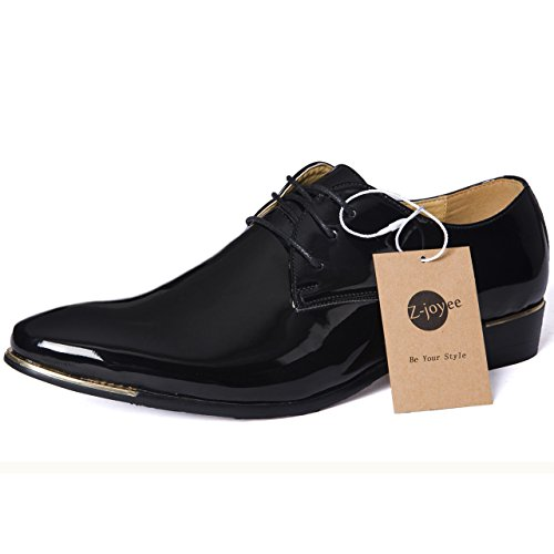 Z-joyee Mens Patent Leather Tuxedo Dress Shoes Lace up pointed Toe Oxfords Formal Wedding Shoes, Black, Us 10.5