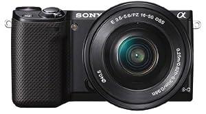Sony NEX-5RLB Kompakte Systemkamera (16,1 Megapixel, 7,6 cm (3 Zoll) Touchscreen, Full HD, Kontrast AF, WiFi) inkl. SEL-P1650 Zoom-Objektiv schwarz