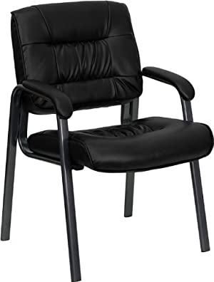 Flash Furniture BT-1404-BKGY-GG Black Leather Executive Side Chair