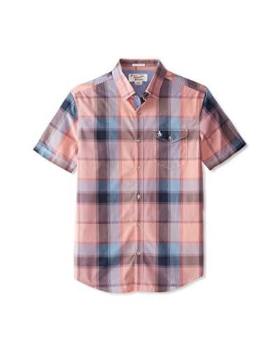 Original Penguin Men's Short Sleeve Sunset Plaid Shirt