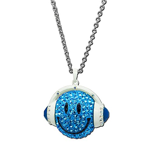 Chain Necklace Smiley Smilie Headphones Dj Rhinestone Green Yellow Red Blue, Color: Blue
