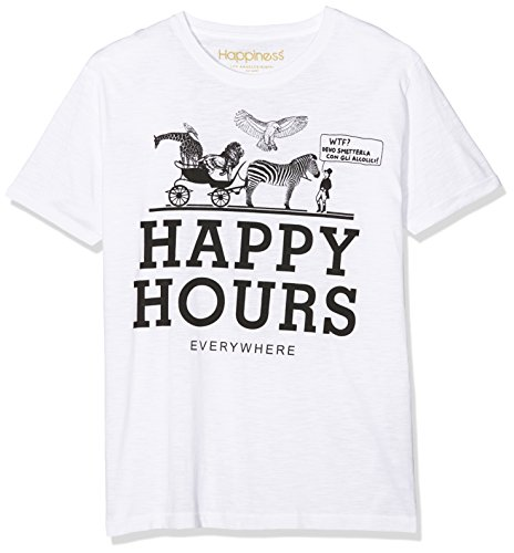 Happiness Basic T-Shirt Happy Hours Maglietta Da Uomo, Bianco (White), L