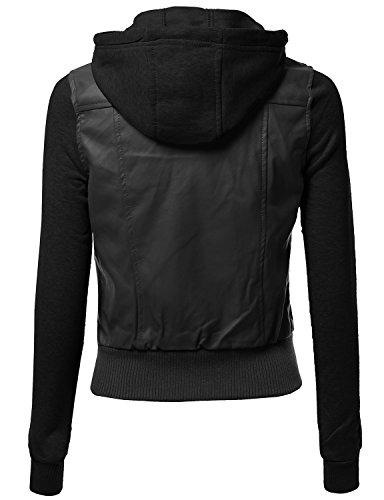 Hood Sleeve Fleece Contrast Bike Rider Faux Leather Jackets Black Size S